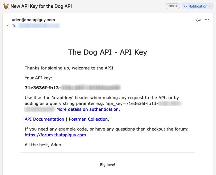 TheDogAPI API key