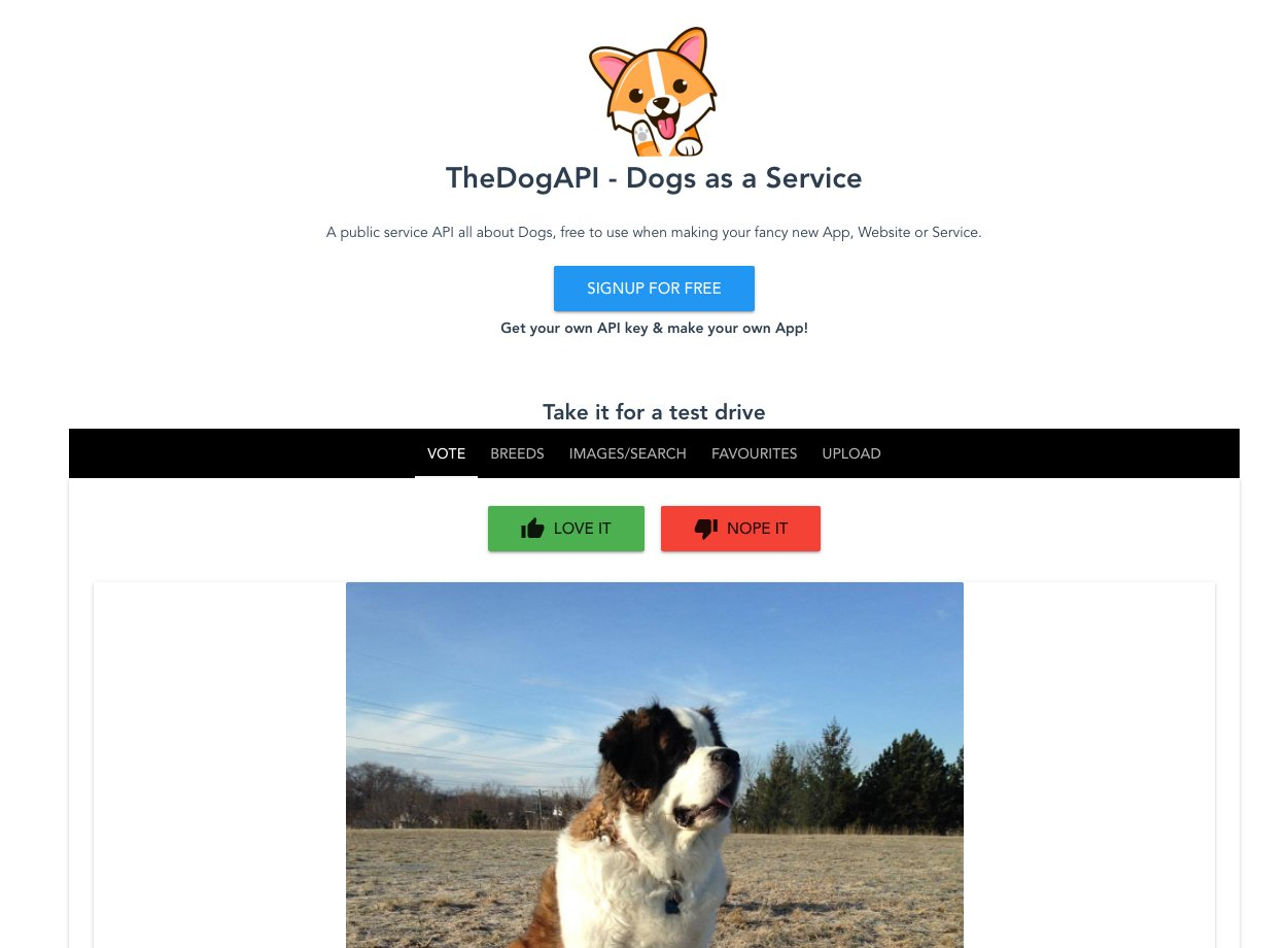 TheDogAPI- Dogs as a Service homepage