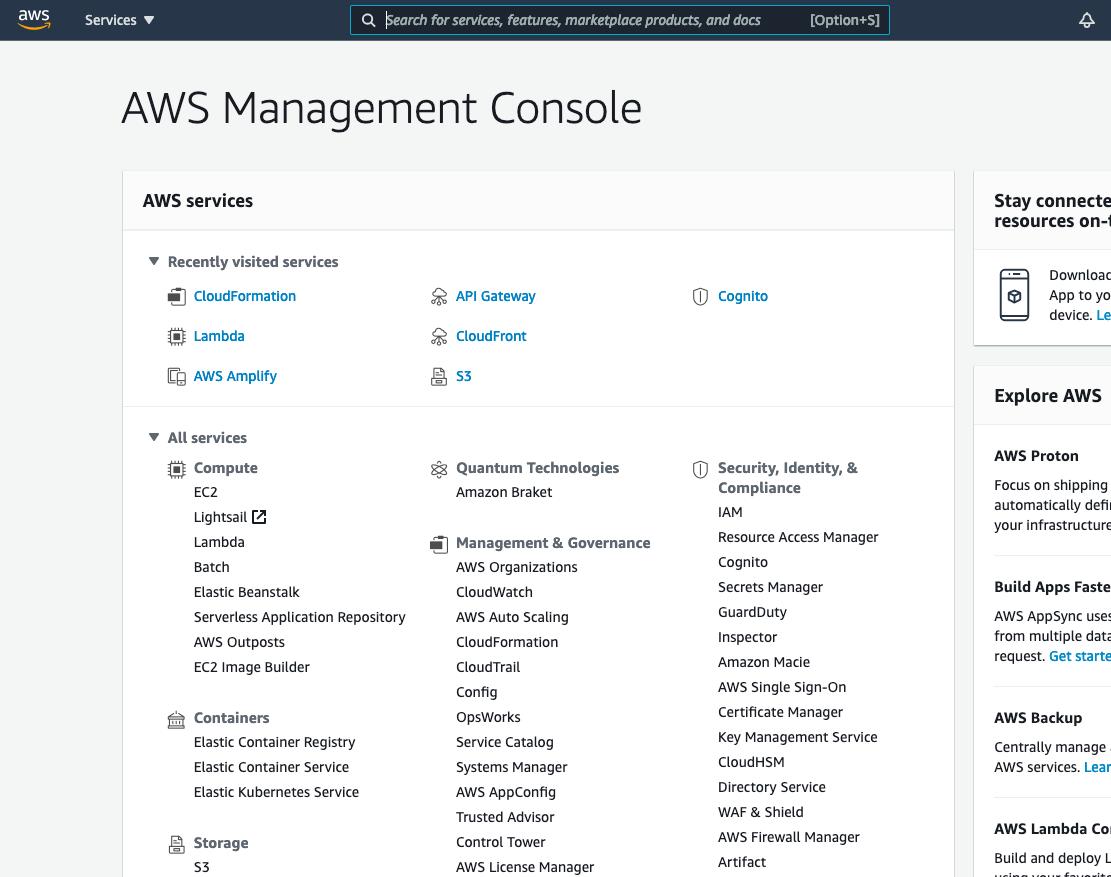 Amazon's AWS console dashboard