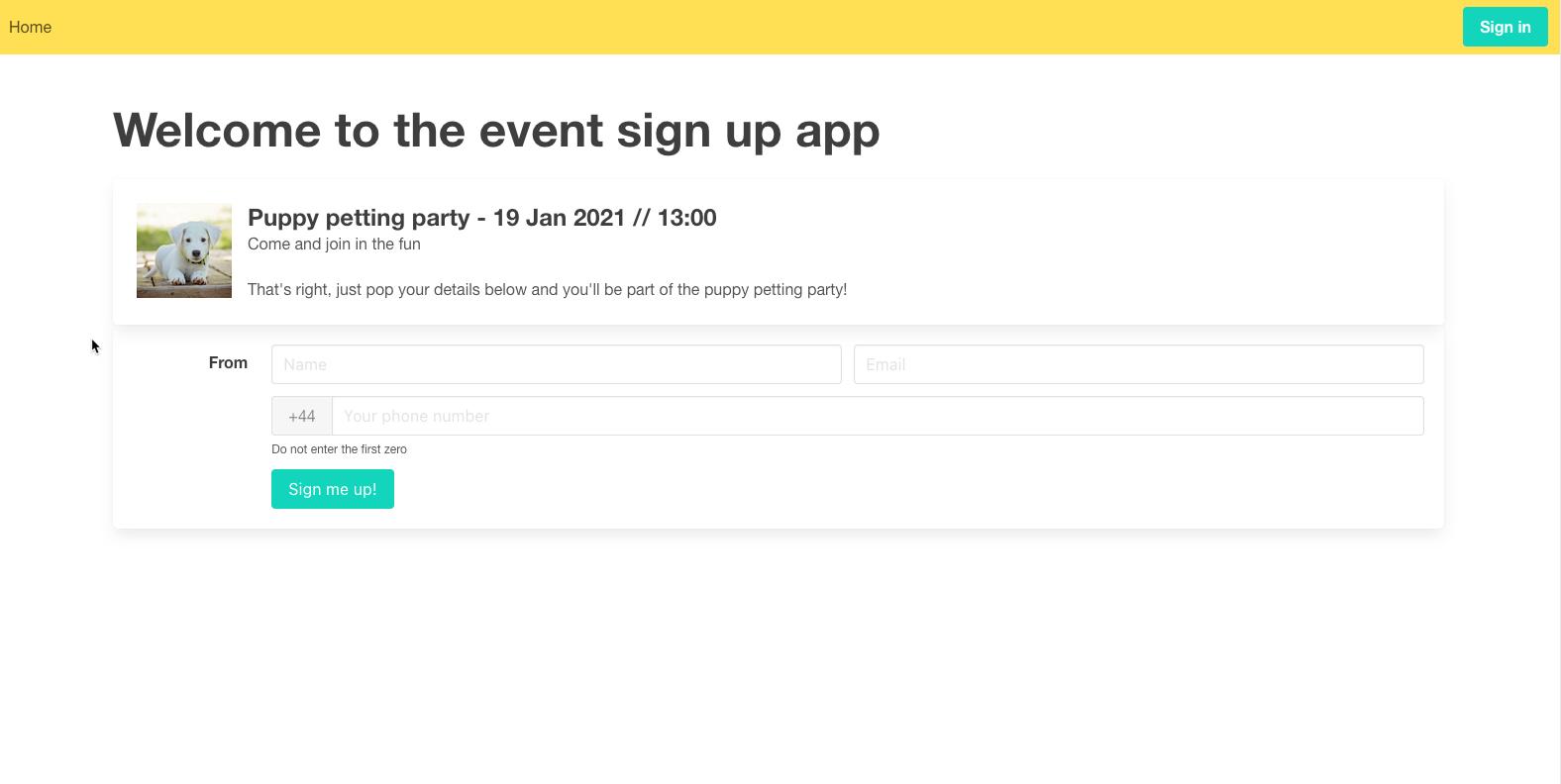 Event SignUp App screenshot
