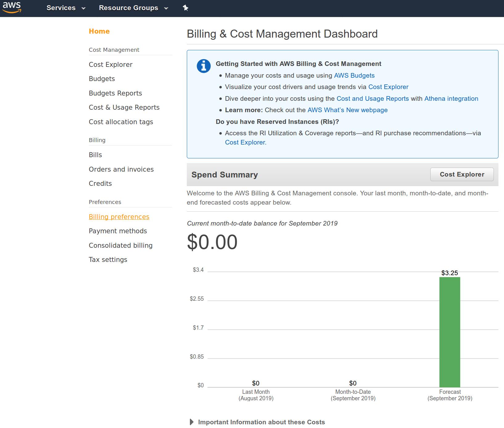 AWS Web console - billing dashboard screenshot
