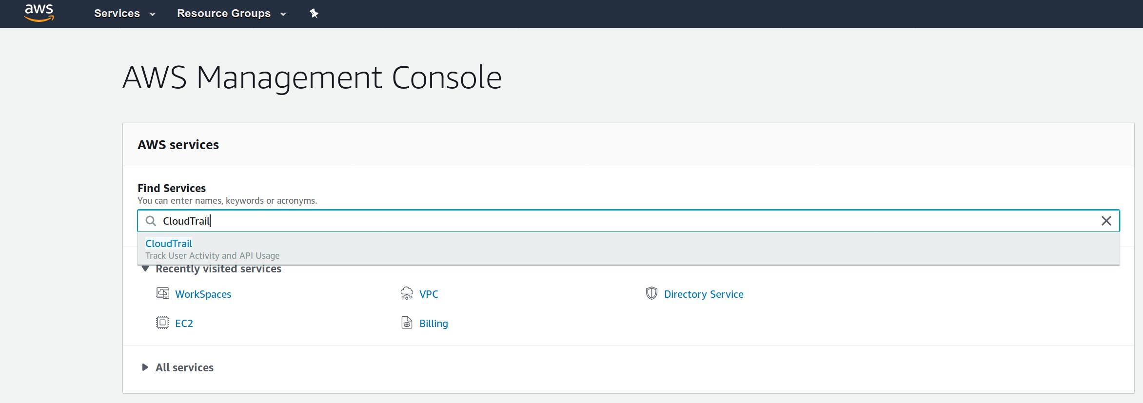 AWS Web Console Main Dashboard screenshot