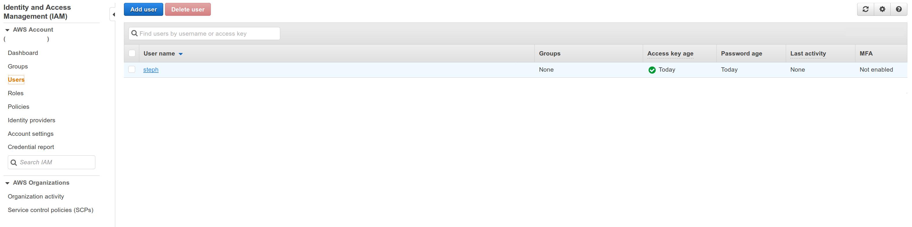 AWS Web console IAM Dashboard