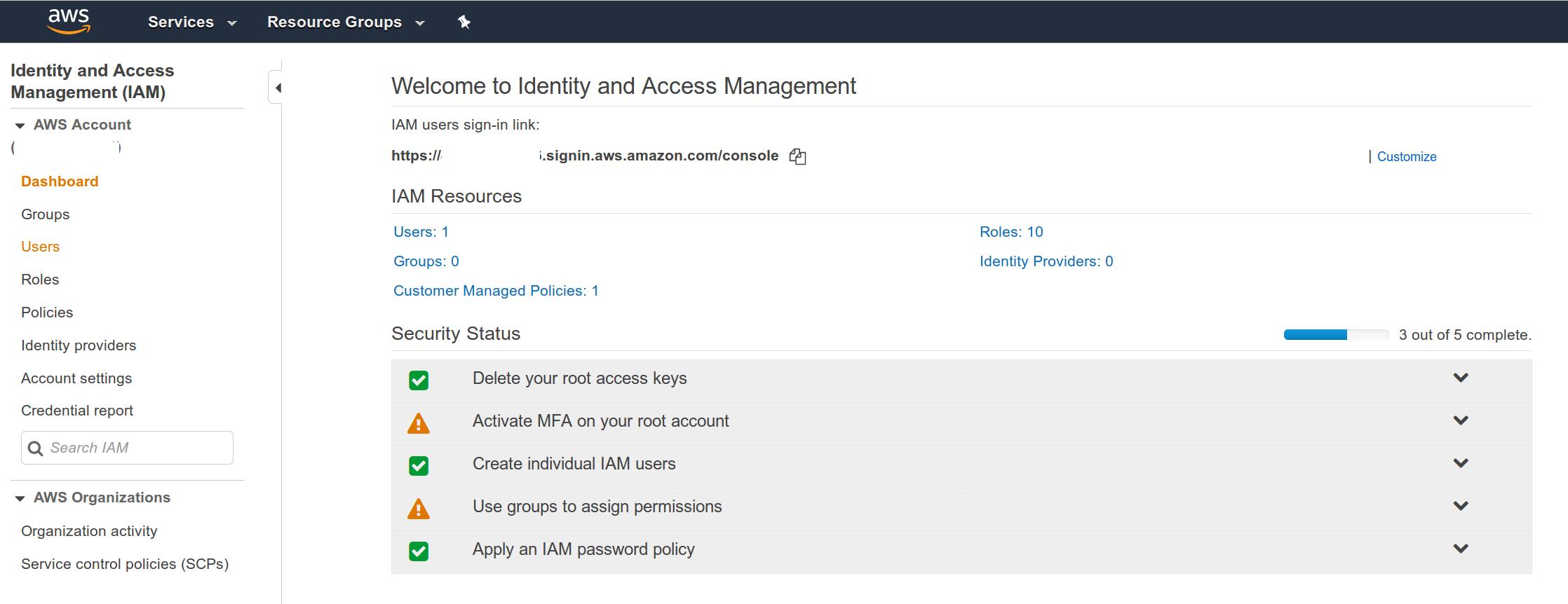 AWS Web console -IAM dashboard screenshot