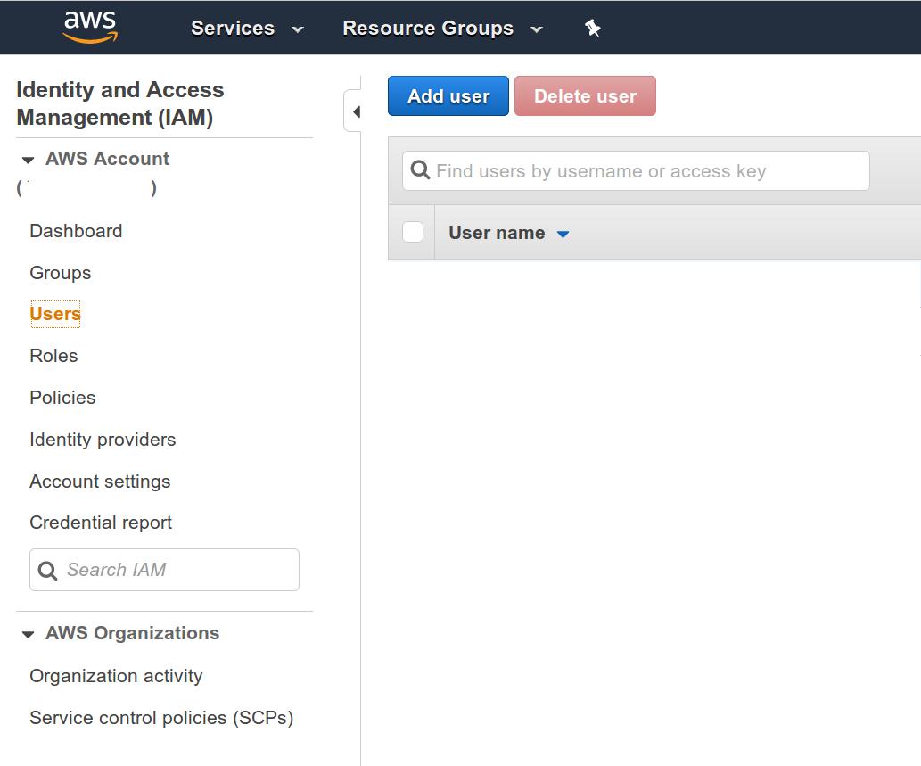 AWS Web console -IAM Users screenshot
