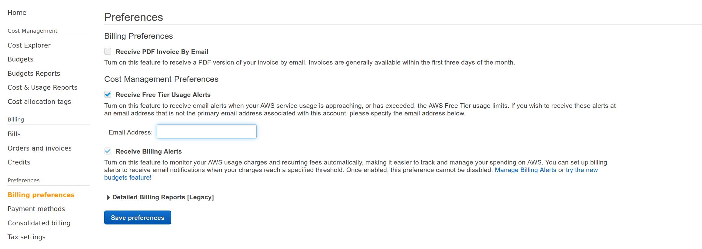 AWS Web console - billing preferences screenshot