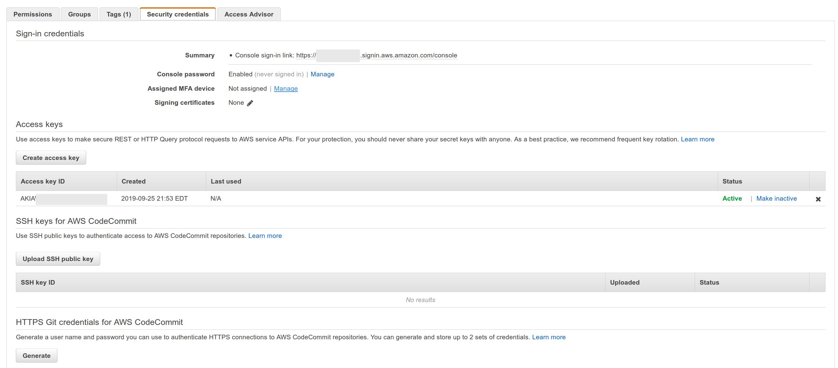 AWS Web console IAM User Security Credentials