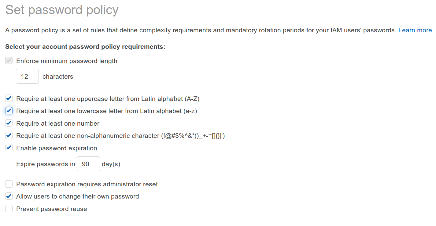 AWS Web console -IAM password policy screenshot