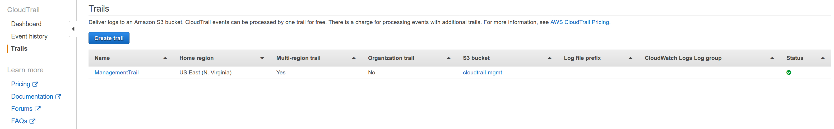 AWS Web console Cloudtrail Created screenshot