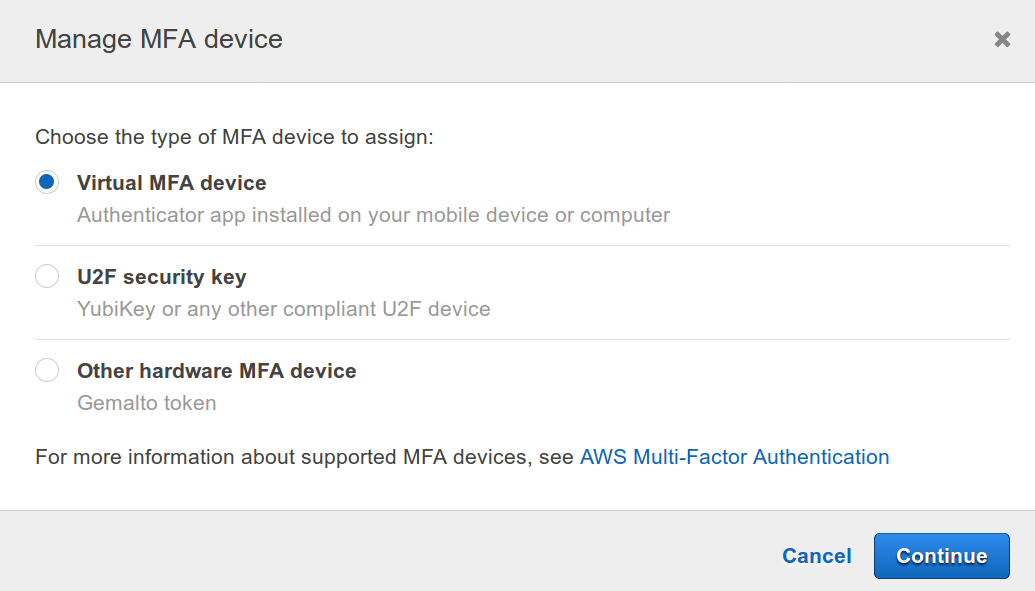 AWS Web console Manage MFA