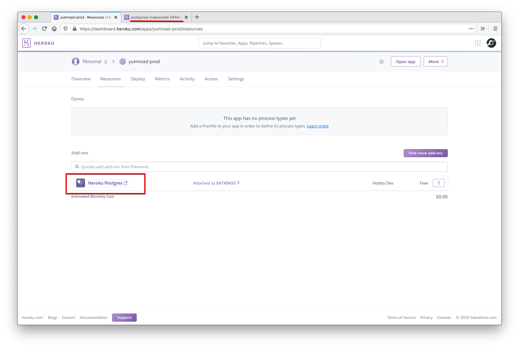 Heroku Database Details