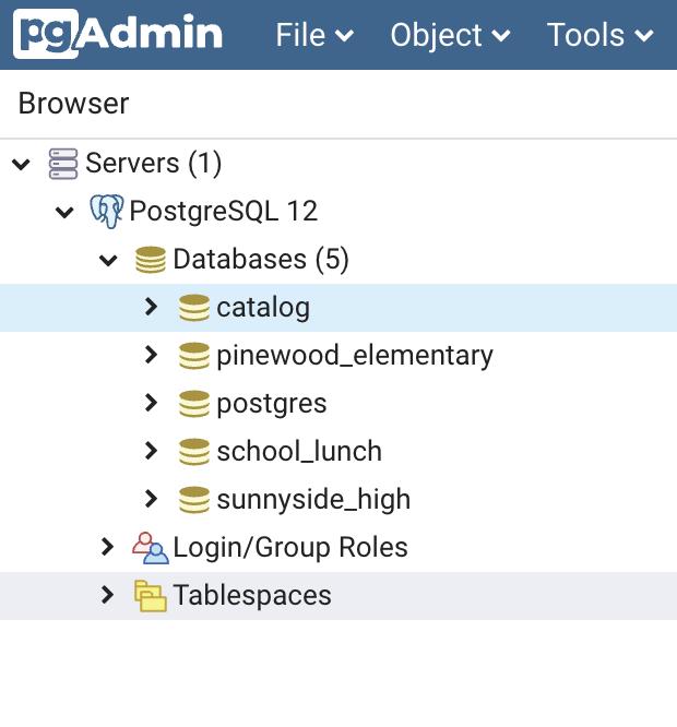 pgadmin-tables