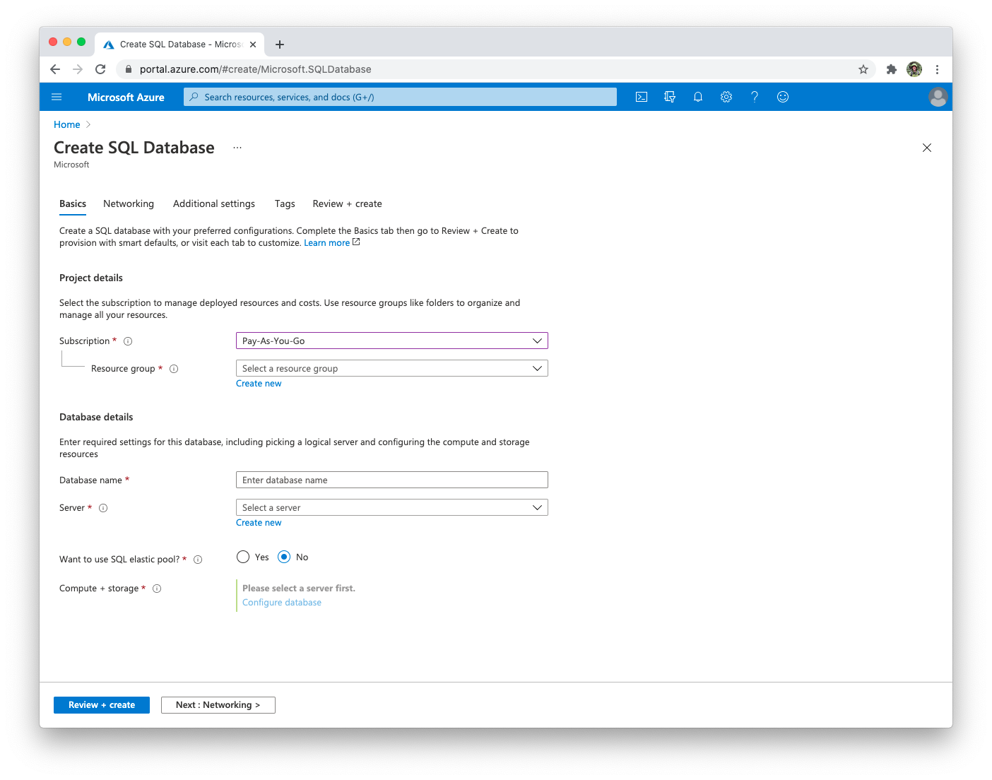 Azure SQL add